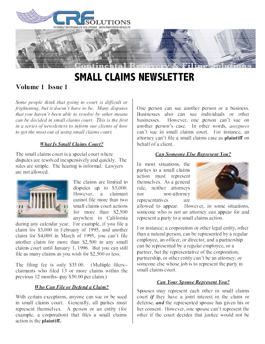 Small Claims Issue 1