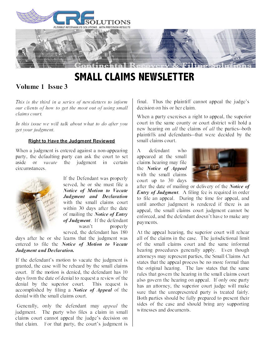 Small Claims Issue 3
